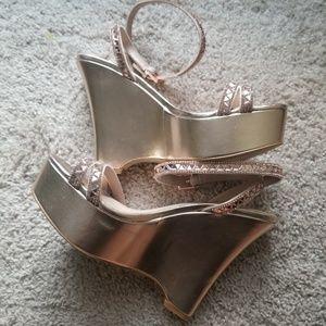 Aldo Rhinestone Embelished Rose Gold Wedge Sandal